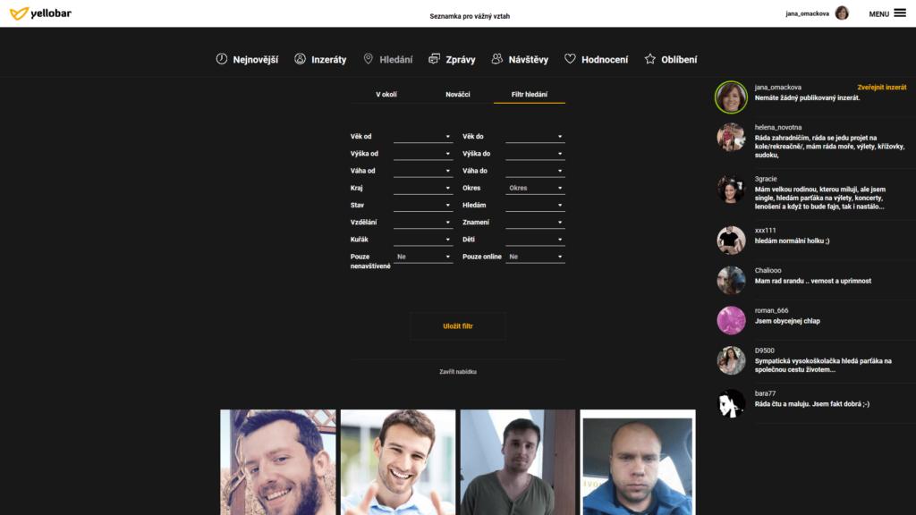 Filtrování partnerů na seznamce Yellobar