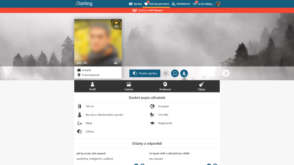 Profil možného partnera na Edarling